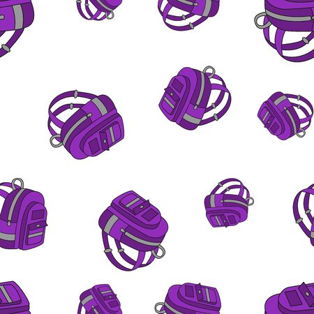 Seamless pattern of school backpacks in Doodle style. Vector illustration.