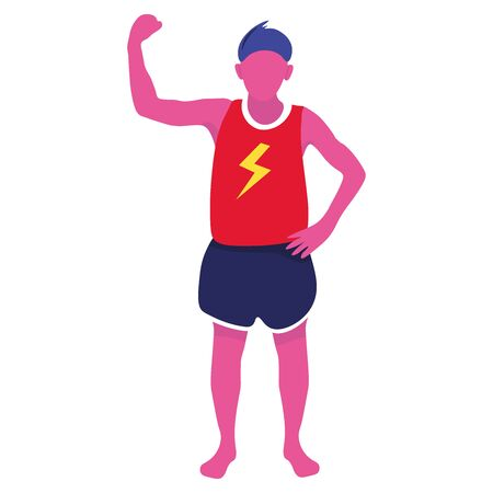 Guy s showing off his biceps. The boy plays sports. Bright vector illustration.