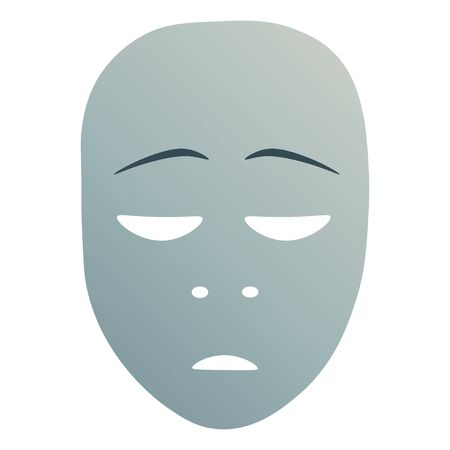 Theatrical mask with repentance emotion.  illustration. Blue mask with gradient isolated on white background.