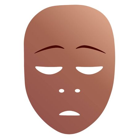 Theatrical mask with repentance emotion.  illustration. Bronze mask with gradient isolated on white background.