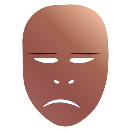 Theatrical mask with sorrowful emotion.  illustration. Bronze mask with gradient isolated on white background. Stock Photo