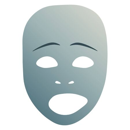 Theatrical mask with sad emotion.  illustration. Blue mask with gradient isolated on white background.