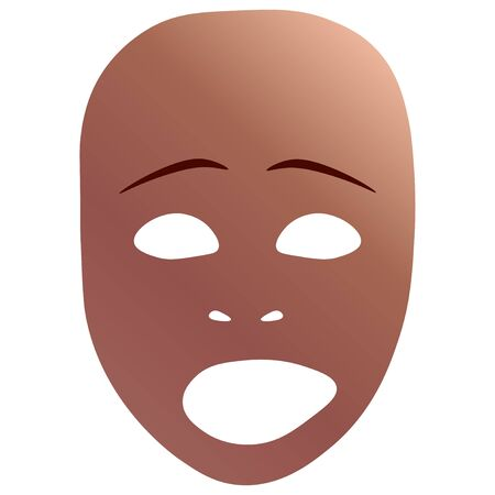 Theatrical mask with sad emotion.  illustration. Bronze mask with gradient isolated on white background. Stock Illustration - 130902999