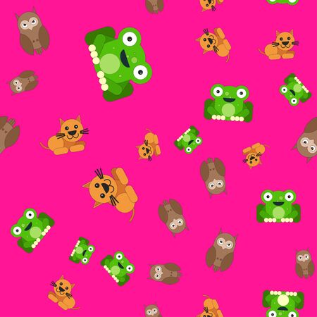 Seamless pattern of owl and cat frog.  illustration in cartoon style on a colored background.