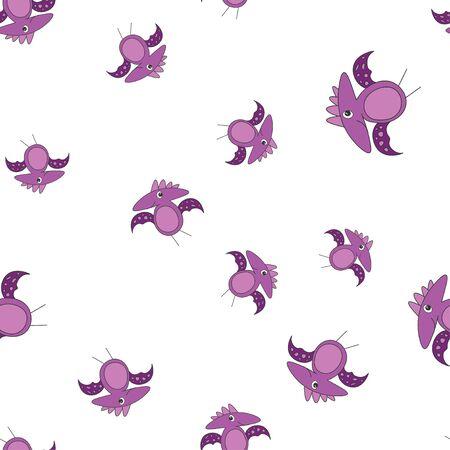 Seamless pattern of dinosaurus pterodactyl. Purple dinosaurs isolated on white background. Vector illustration