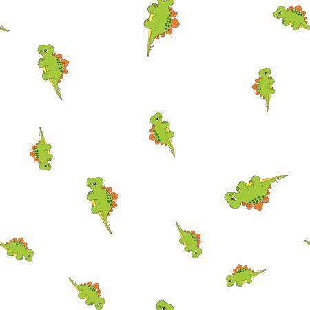Seamless pattern of dinosaurus stegosaurus. Green dinosaurs isolated on white background. Vector illustration Иллюстрация