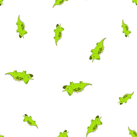 Seamless pattern of dinosaurus triceratops. Green dinosaurs isolated on white background. Vector illustration Vectores
