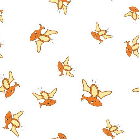 Seamless pattern of dinosaurus pterodactyl. Orange dinosaurs isolated on white background. Vector illustration