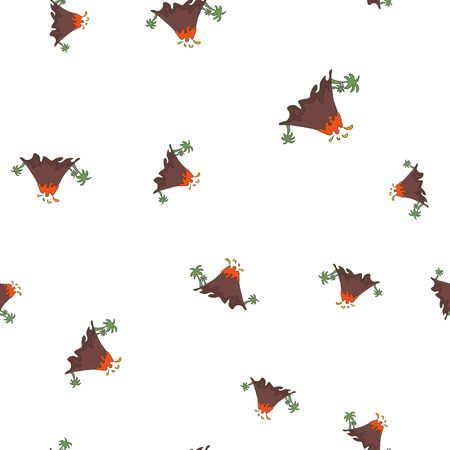 Seamless pattern of volcanic eruption with palm trees. Isolated on white background. Vector illustration.