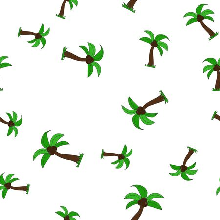 Seamless pattern of palm tree with coconut. Isolated on white background. Vector illustration. Vectores