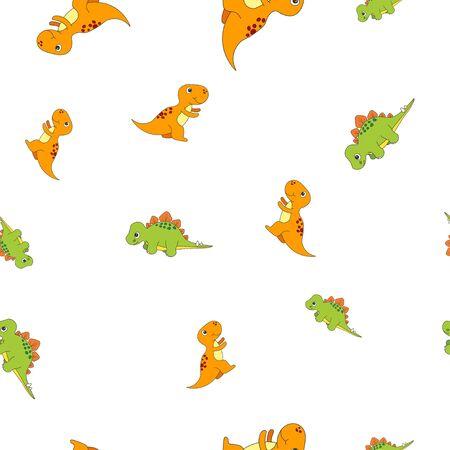 Seamless pattern of dinosaurus tyrannosaur and stegosaurus. Isolated on white background. Vector illustration.