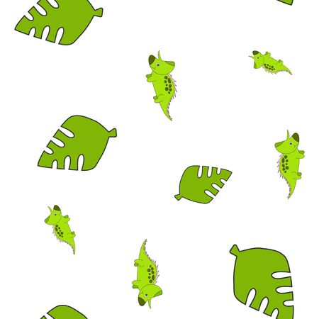 Seamless pattern of dinosaurus triceratops and leaf palm tree. Isolated on white background. Vector illustration.