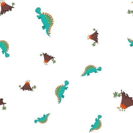 Seamless pattern of dinosaurus stegosaurus and vulcano eruption. Isolated on white background. Vector illustration.