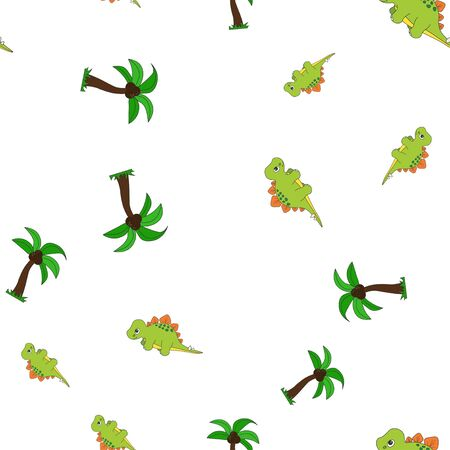 Seamless pattern of dinosaurus stegosaurus and palm coconut. Isolated on white background. Vector illustration.