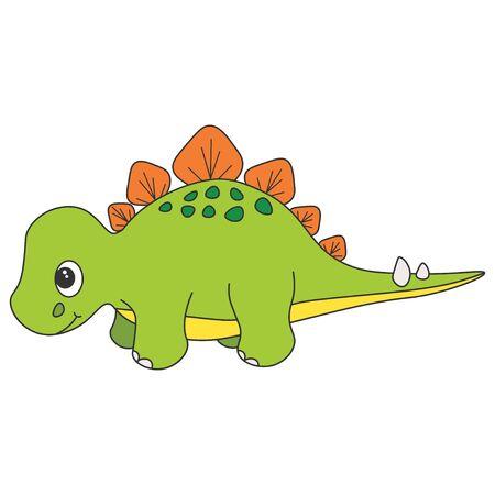 Cute cartoon dinosaur stegosaur. Green dinosaur isolated on a white background. Vector illustration.
