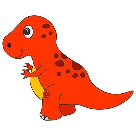 Cute cartoon dinosaur tyrannosaur. Red dinosaur isolated on a white background. Vector illustration. Иллюстрация