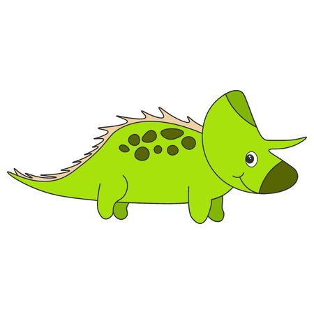 Cute cartoon dinosaur triceratops. Green dinosaur isolated on a white background. Vector illustration.