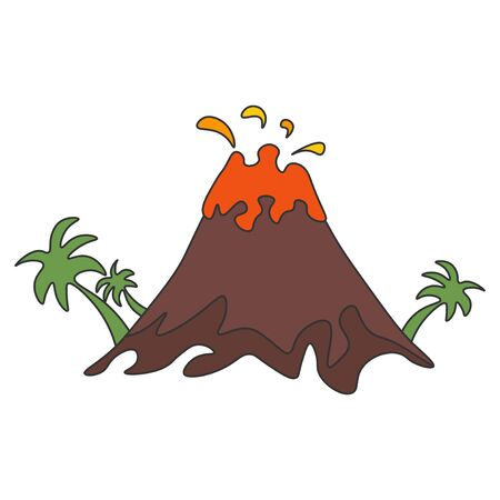 Volcanic eruption with palm trees isolated on a white background. Vector illustration. Vectores