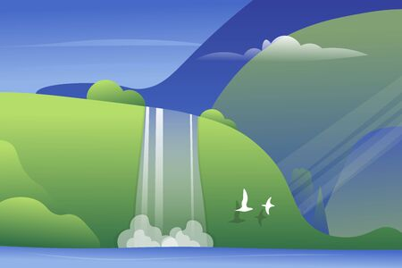 Mountain landscape with a waterfall and birds. Vector illustration. Vectores