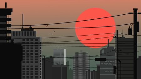 City landscape against the backdrop of a huge red sun. City at sunset / sunrise. Vector illustration.