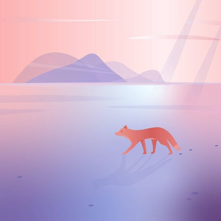 Snowy landscape with mountains on the background. The fox walks in the snow. Vector illustration.
