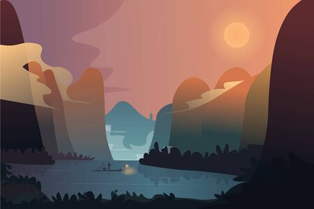 Lone fisherman at sunrise against the backdrop of a mountain landscape. Vector illustration.
