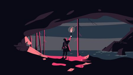 A man with a torch on the edge of the cave looks at the sea horizon at night. Vector illustration.