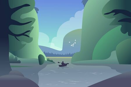 A lone fisherman is kayaking on a narrow river in the forest. Vector illustration. Ilustração