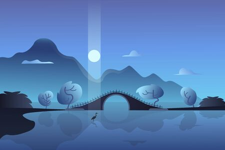 Mountain night landscape. Crane in the moonlight on the background of the bridge. Vector illustration.