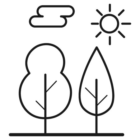 Ecological icon. Landscape with trees and sun. Isolated on white background. Vector illustration. Vectores