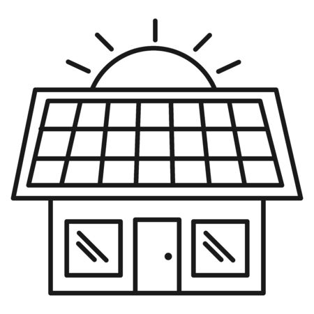 Ecological icon. House with solar panel. Isolated on white background. Vector illustration. Vectores
