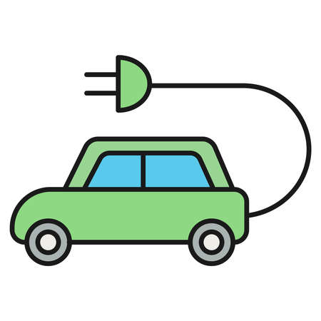 Ecological icon. Electric car. Isolated on white background. Vector illustration.