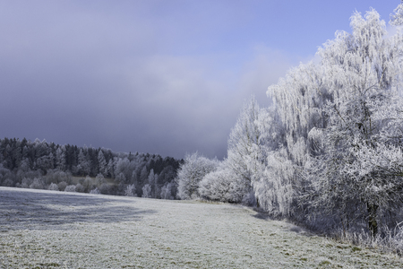 Fairytale winter landscape in the Czech Central Mountains