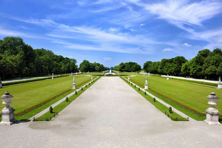 The garden of the Nymphenburg palace in Munich in Germany