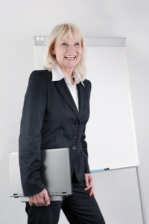 Smiling business woman presenting. photo