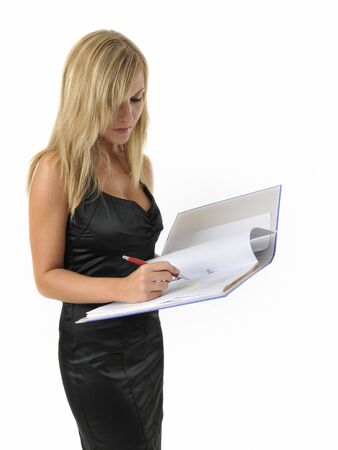 picture of happy woman with big notepad Stock Photo - 10309600