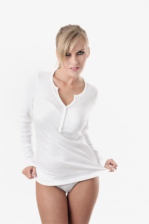 portrait of a beautiful adult sensuality blonde woman photo
