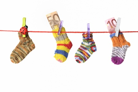 CLOTHES HANGING: Baby goods hanging on the clothesline