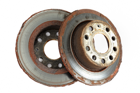 Two brake discs on white background