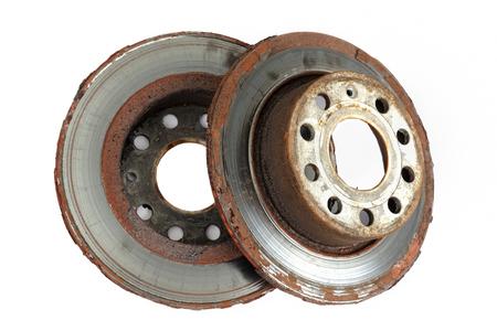 Two brake discs on white background