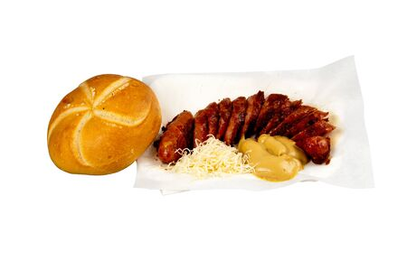russet: grilled sausage with sliced bread