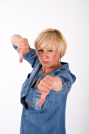 woman with thumbs down photo