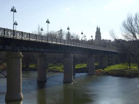 river ebro in logroño (La Rioja)  Stock Photo
