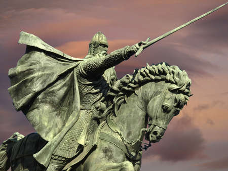 the statue of Cid Campeador in Burgos Stock Photo
