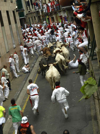 running of the bulls in Pamplona Editorial