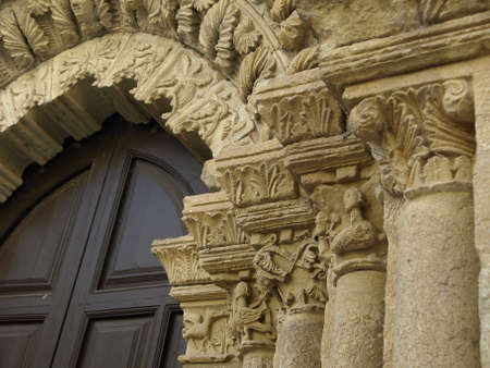 zamora: gothic gate of La magdalena church in Zamora Stock Photo