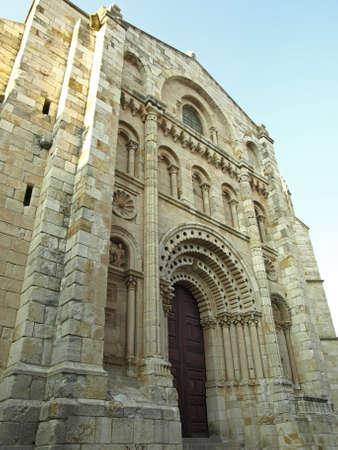 zamora: details of the cathedral of zamora in castilla