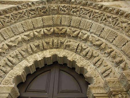 magdalena: gothic gate of La magdalena church in Zamora Stock Photo