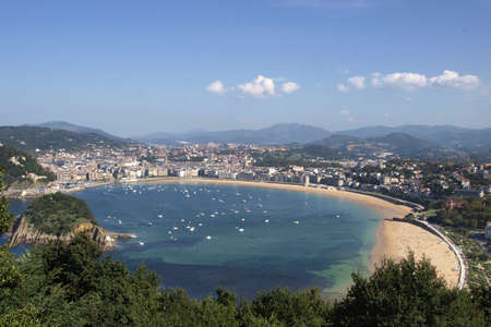 airview of La Concha beach in San Sebastian  Stock Photo