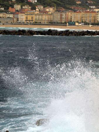 san sebastian: storm and waves in the coast of San Sebastian Stock Photo